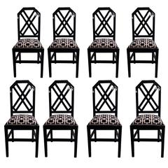 Set of Eight Black Lacquered 1970s Chairs