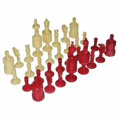 English Staunton Style Fine Turned Chess Set with Provenance, circa 1870