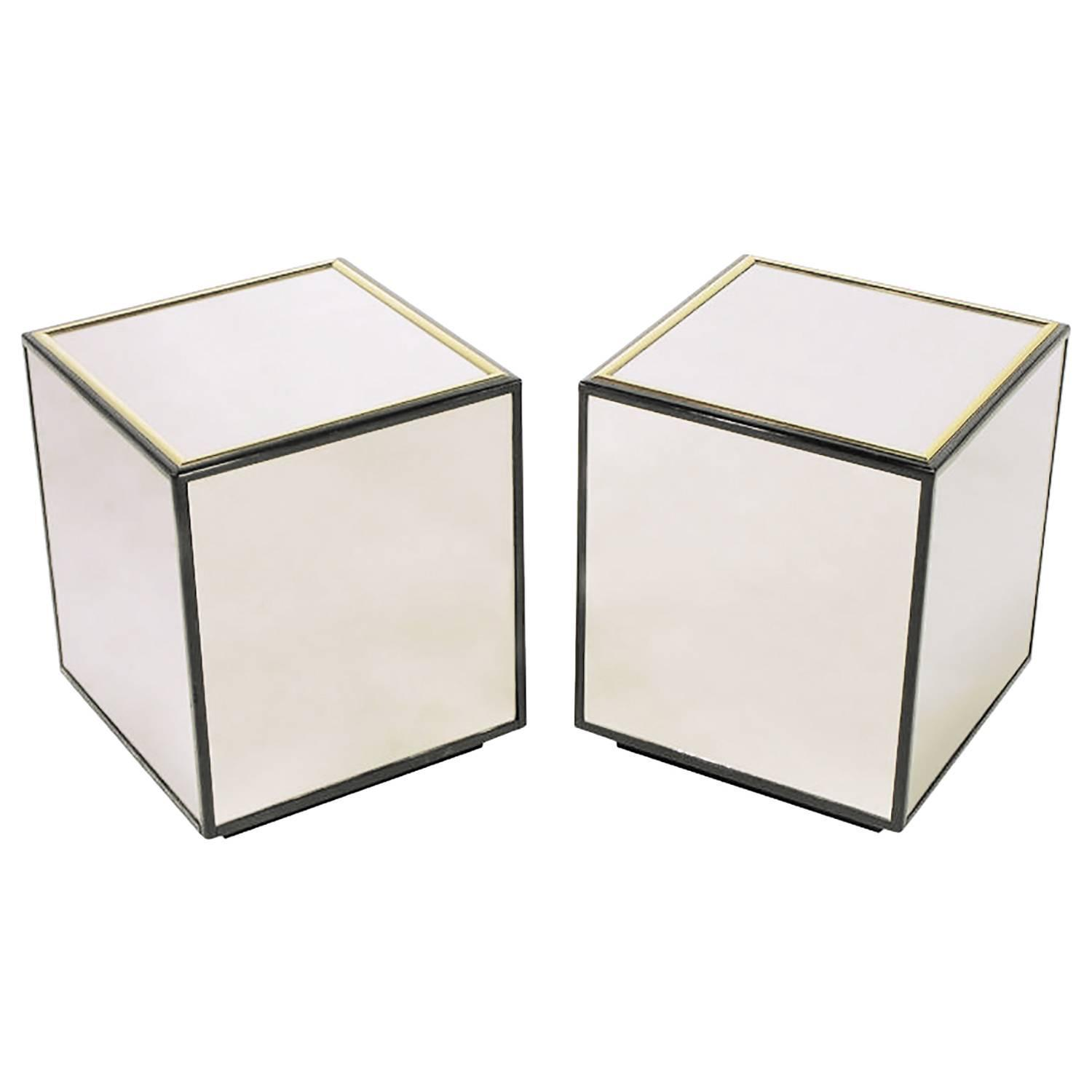 Pair of Henredon Black Lacquer and Brass Mirrored Cube ...