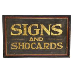 "19th Century Sand Painted Trade Sign,""SIGNS AND SHOCARDS"""