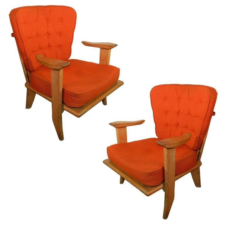 Guillerme et Chambron, Pair of Oak Armchairs, Votre Maison Edition