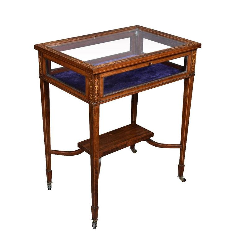 Edwardian rosewood and inlaid rectangular bijouterie display table For Sale