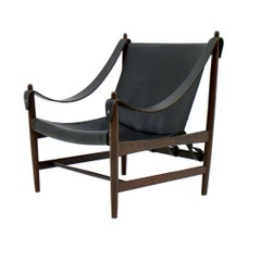 Scandinavian Lounge Chair, Mahogany and Leather, 1960s