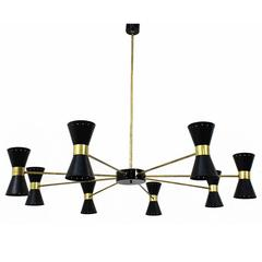 Large Eight-Arm Modernist Italian Chandelier, Brass, Stilnovo Style, Italy