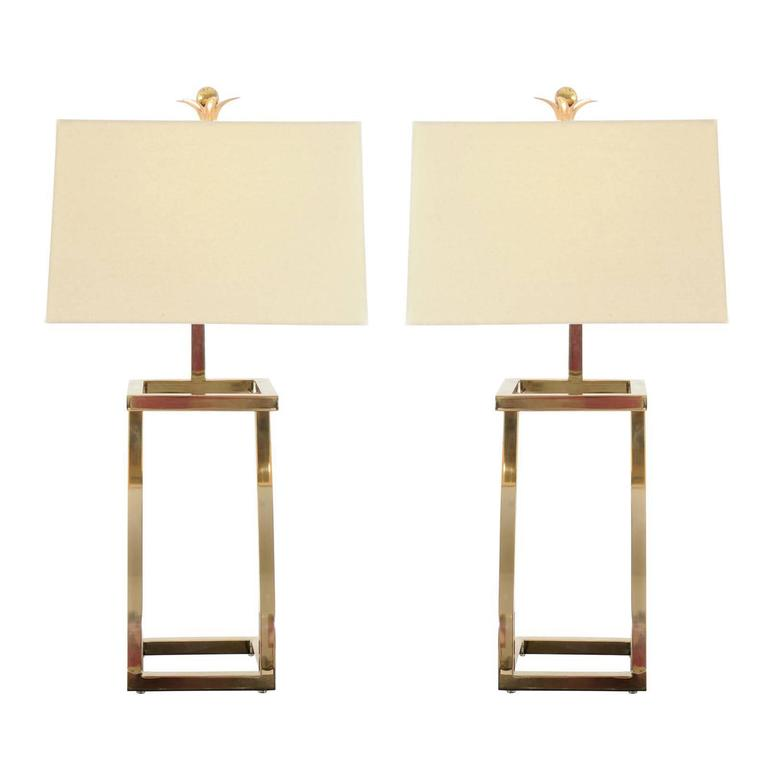 Restored Pair of Stylish Vintage Brass Z-Form Lamps