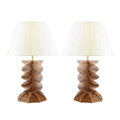 Restored Pair of Vintage Popsicle Stick Helix Lamps