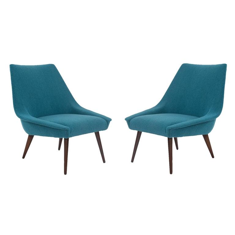 Pair of Sculptural Upholstered Lounge Chairs