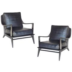 Pair of Black Mid Century Armchairs