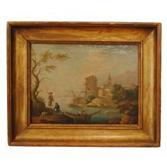 French 19th Century Oil on Canvas, Lake Scene with Fishermen and Ruins