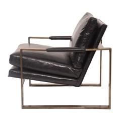 Rare Bronze and Leather Lounge Chair by Milo Baughman
