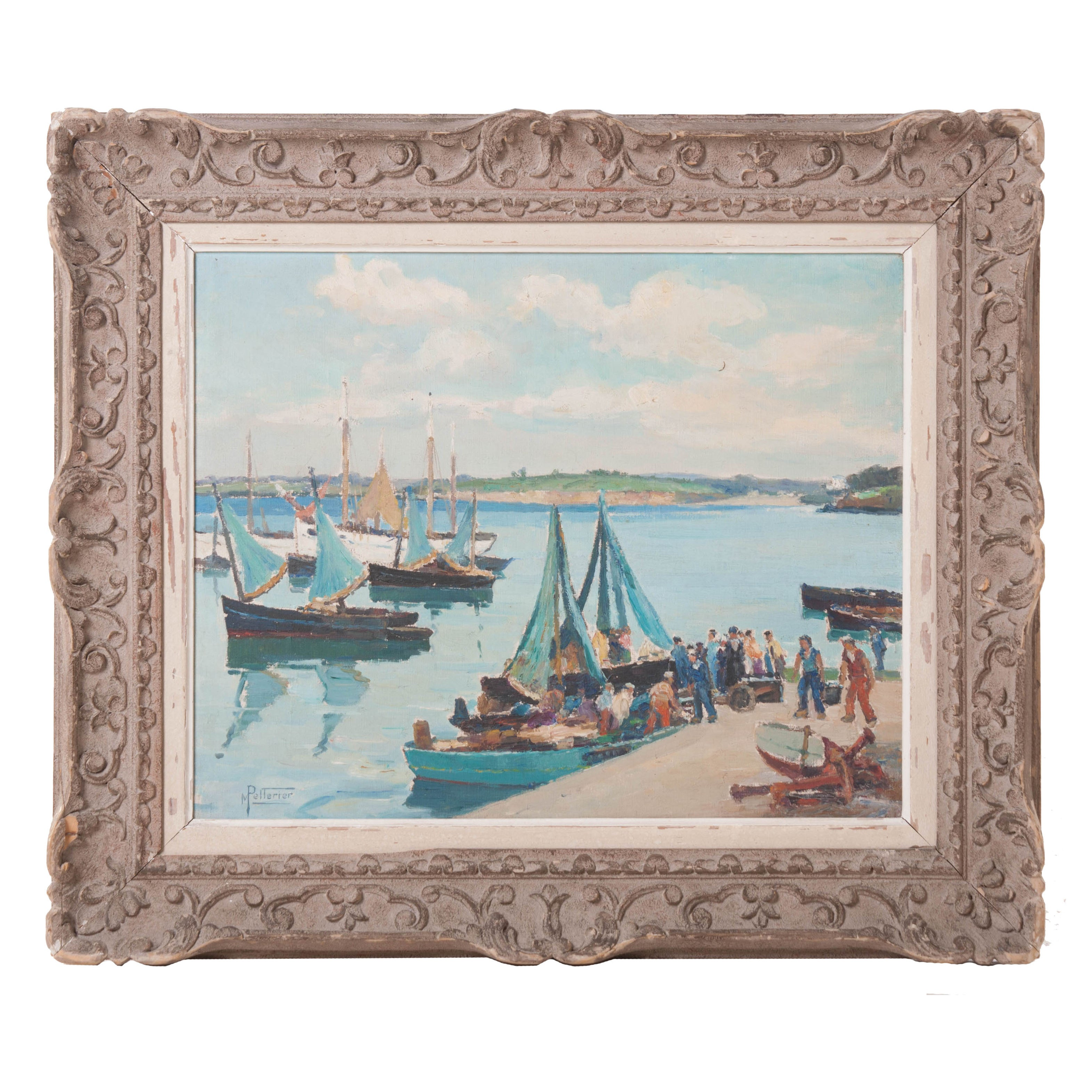 """Return from Fishing"" Framed Oil on Canvas"
