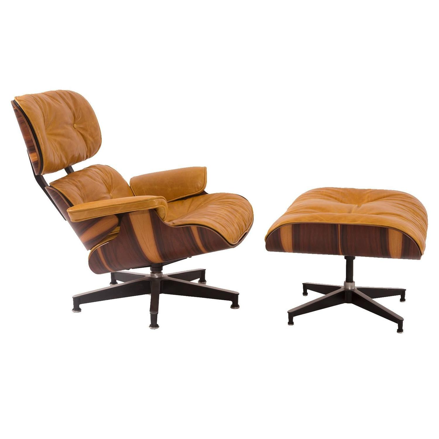 Custom Butterscotch Leather And Rosewood Eames Lounge Chair And Ottoman At 1s