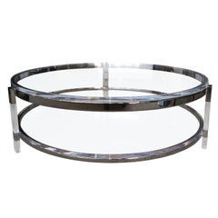 Round Coffee Table in Lucite, Nickel by Charles Hollis Jones, Metric Collection