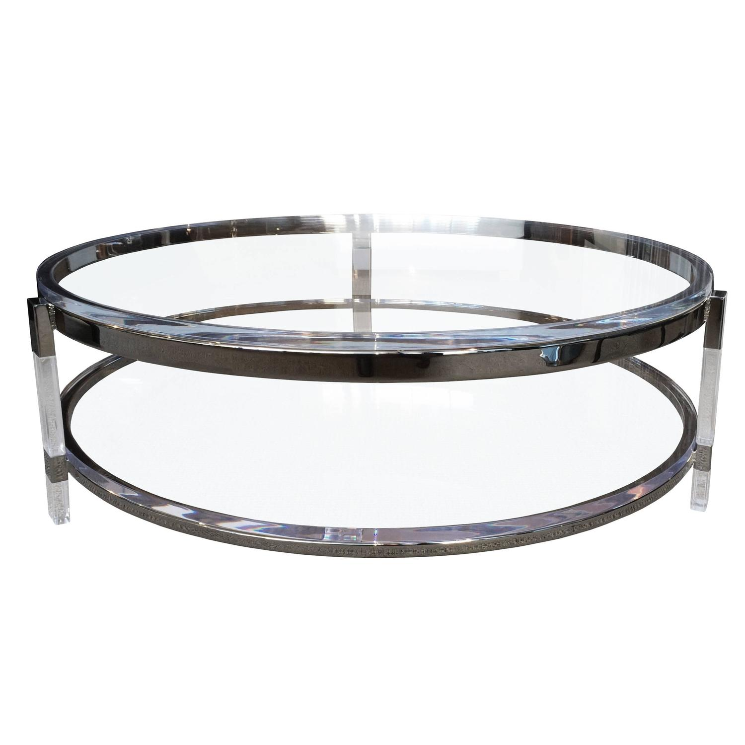Round Coffee Table In Lucite Nickel By Charles Hollis