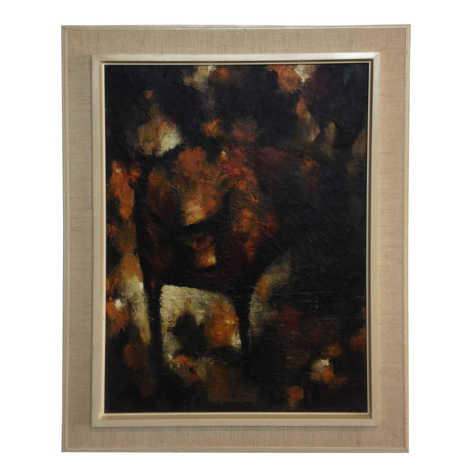 Mid Century Modern Abstract Oil Painting Signed At 1stdibs