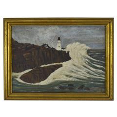 Stormy Seascape Oil on Board