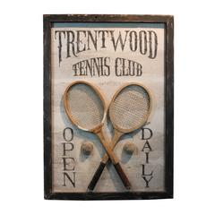 Folk Art Hand-Painted Large-Scale Tennis Club Sign