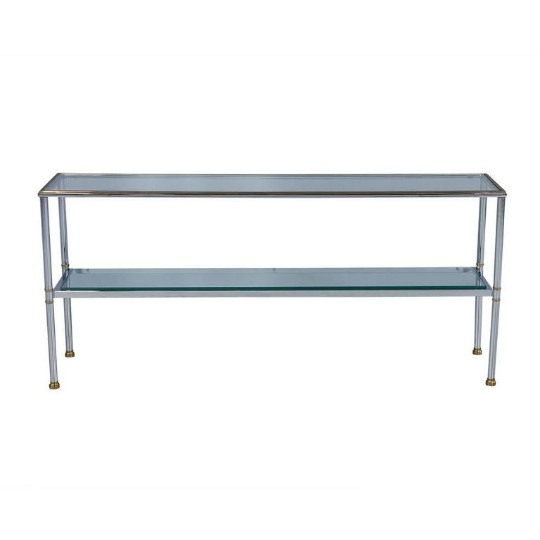 Polished Chrome and Glass Console Table