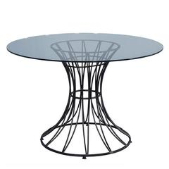 Glass and Iron Star Burst Pedestal Occasional Table
