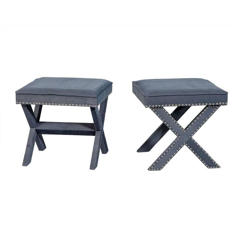 Pair of Grey-Blue Upholstered X-Frame Benches For Sale