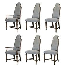 Set of Six High Back Regency Dining Chairs
