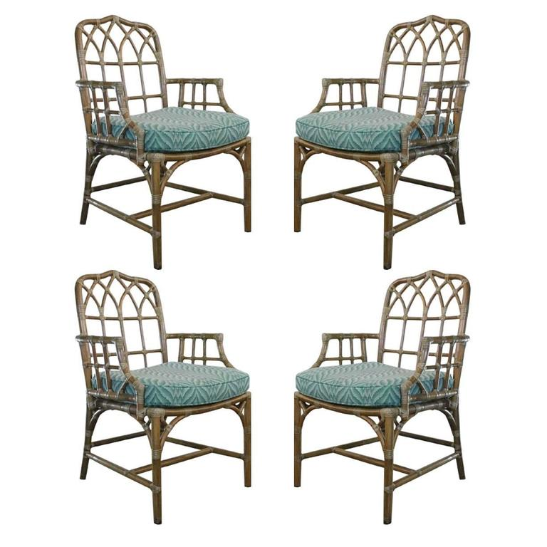 Set Of Four Rattan And Leather Mcguire Chairs For