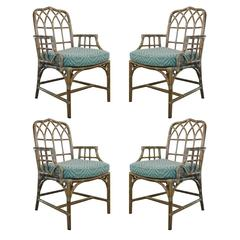 Set of Four Rattan and Leather McGuire Chairs