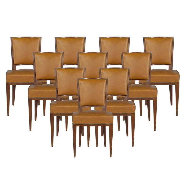 Set of Ten French Art Deco Dining Chairs