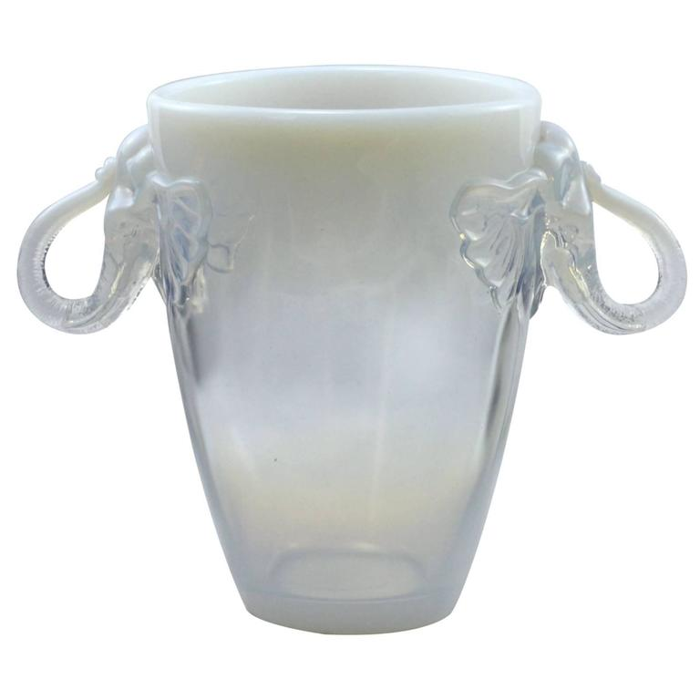 Art Deco Opalescent Glass Vase With Elephant Head Handles By Barolac