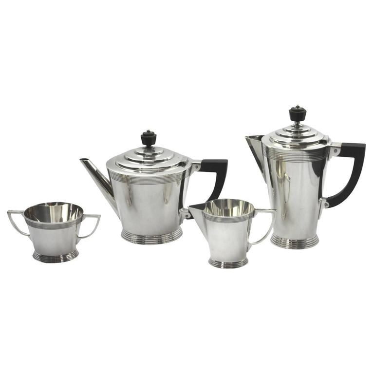 Four-Piece Art Deco Silver Plate Tea Set by Keith Murray for Mappin and Webb For Sale