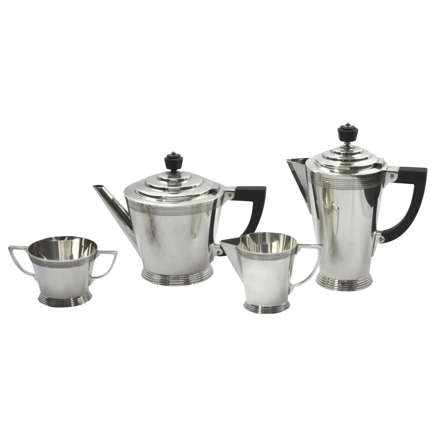 Four Piece Art Deco Silver Plate Tea Set By Keith Murray For Min And Webb At 1stdibs