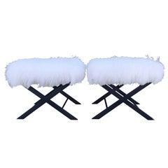 """X"" Frame Benches by Charles Hollis Jones, Black Nickel & White Mongolian Lamb"