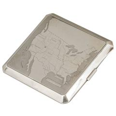"Dunhill ""Map of United States"" Sterling Silver Cigarette Case"
