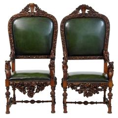 Pair of 19th Century Carved Walnut Florentine Renaissance Armchairs