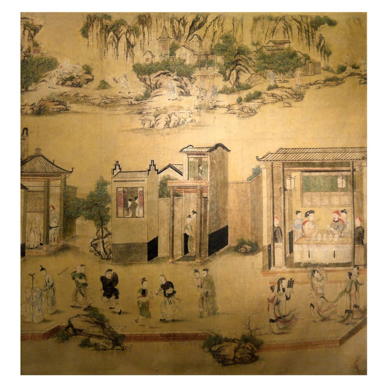 Large 19th Century, Chinese Hand-Painted Landscape Scene For Sale