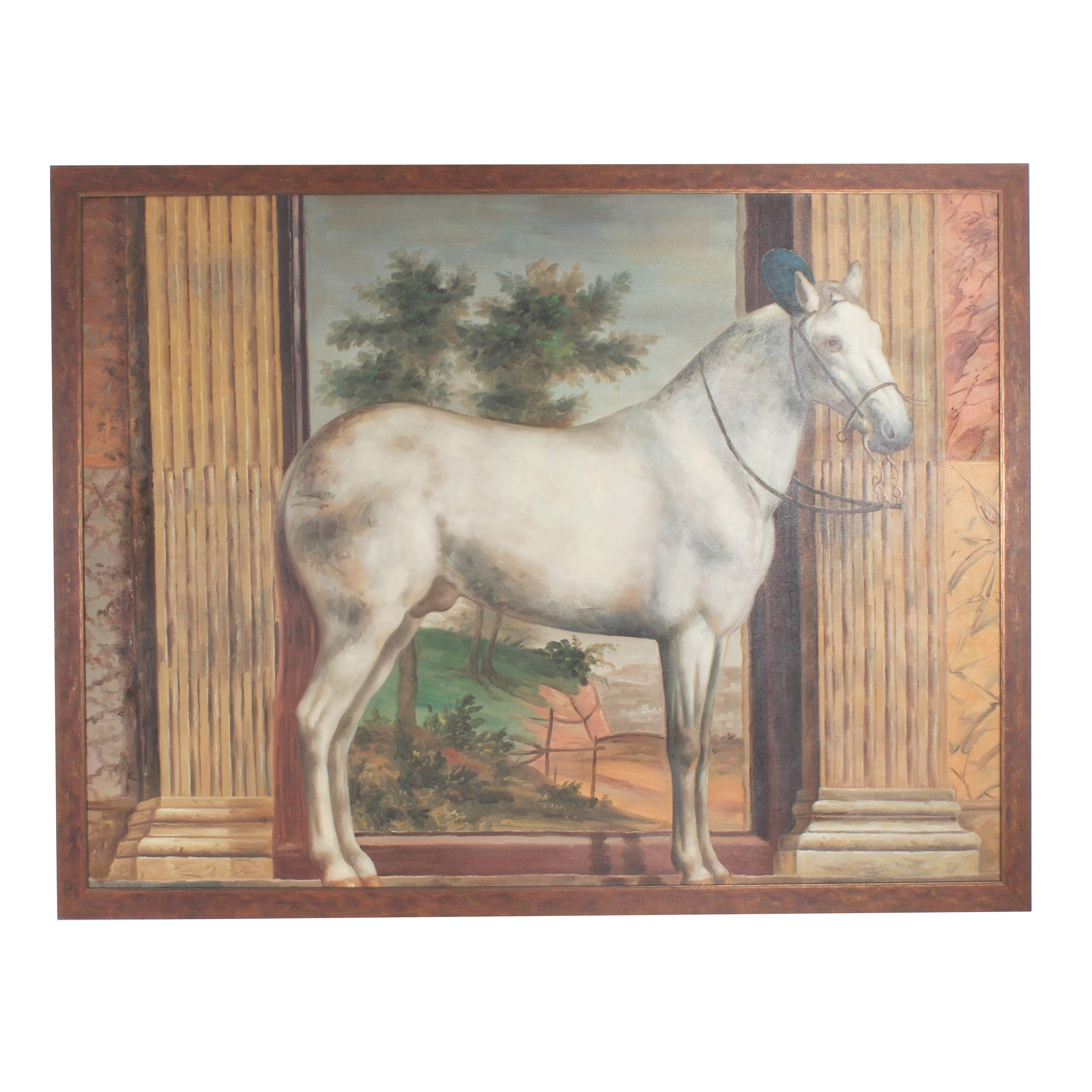 Mid Century Oil Painting on Canvas of a White Horse