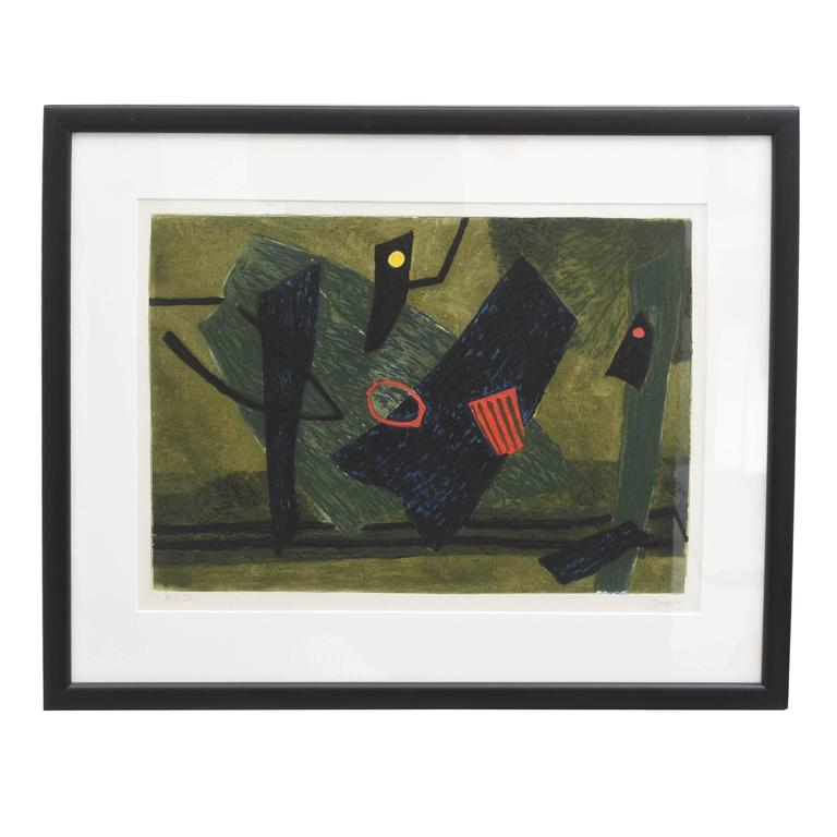 Mid-Century Modern Signed Artist Proof Lithograph by Henri Goetz, France, 1960s
