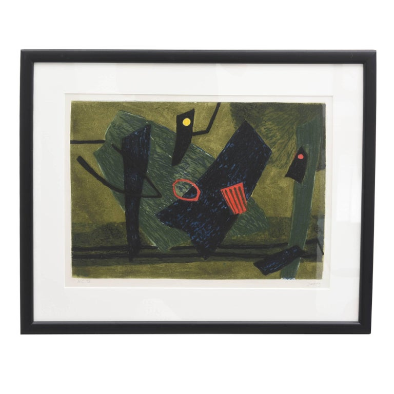 Mid-Century Modern Signed Artist Proof Lithograph by Henri Goetz, France, 1960s For Sale