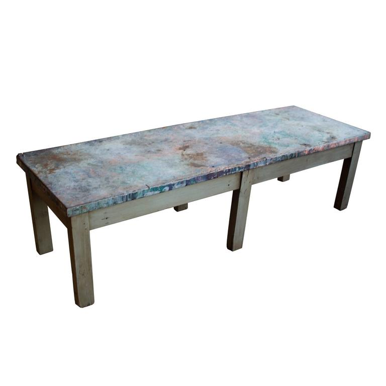 Vintage French Industrial Zinc Topped Coffee Table At 1stdibs