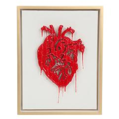 "Peter Buchman ""Heart"" Enamel and Resin on Wood with Gold Leaf Frame, 2015"
