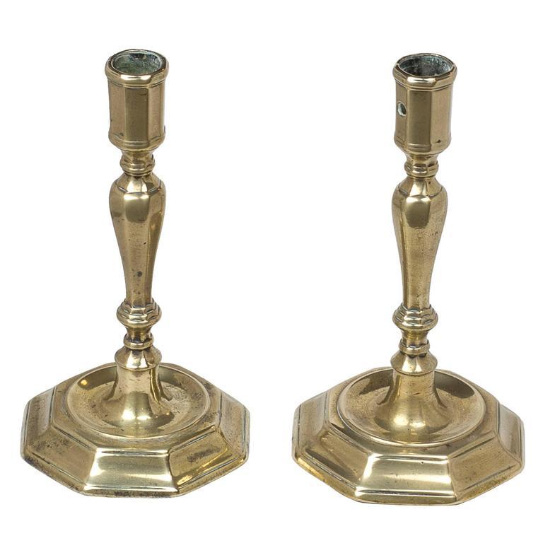 Pair of French Candlesticks, Huguenot Brass Candlesticks, 1720 For ...