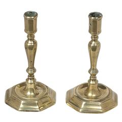Pair of French Candlesticks, Huguenot Brass Candlesticks, 1720