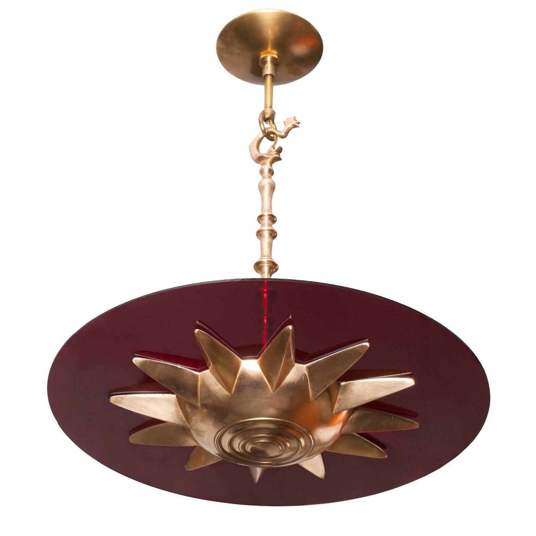 Scandinavian Modern Bronze Star Pendant Light With Red