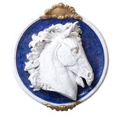 Medaglione Horse Glazed Ceramic Wall Sculpture by Ceccarelli