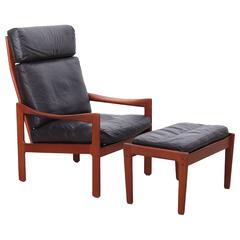 Illum Wikkelsø Teak Highback Lounge Chair and Ottoman