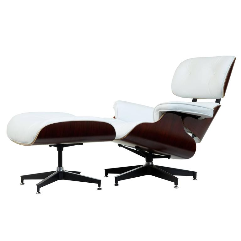 Terrific Eames White Leather Lounge Chair And Ottoman Machost Co Dining Chair Design Ideas Machostcouk