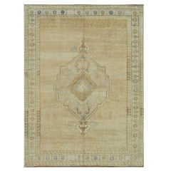 Room Size Hand Knotted Wool Vintage Beige Turkish Rug