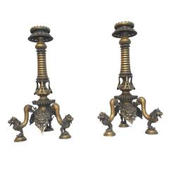 Rare Pair of Late 18th Century Tall Bronze Temple Nepalese Candle Holders