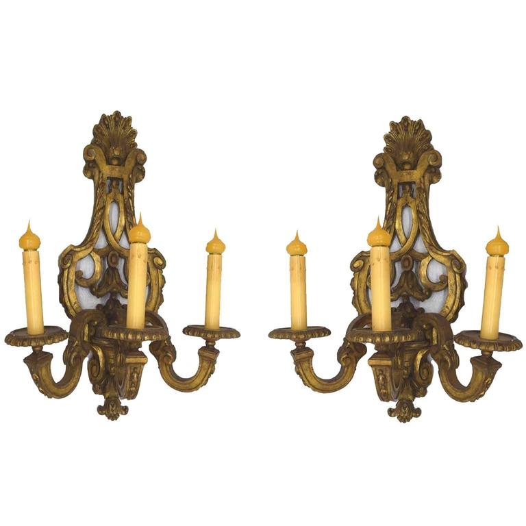 Antique Leaf Wall Sconces : Superb Pair of Antique English Gold Leaf Three-Light Wall Sconces, circa 1865 at 1stdibs