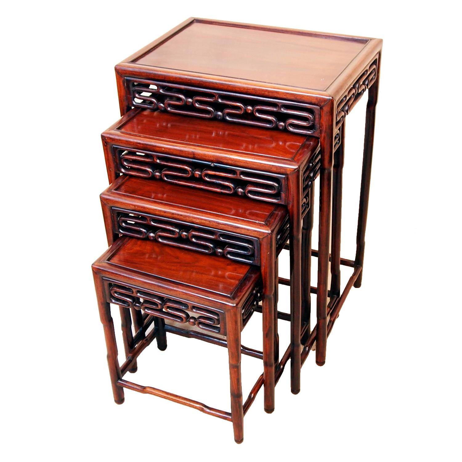 Antique Nesting Tables ~ Antique oriental hardwood nest of coffee tables at stdibs